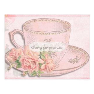 Vintage Tee-Schale und Rosen-Beileid Postkarte