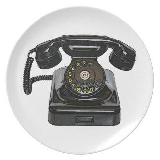 Vintage Telefon Platte Flache Teller