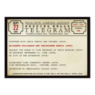 Vintage Telegramm-Art-Hochzeits-Einladung Karte
