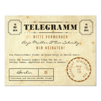 Vintage Telegramm Save the Date Karte