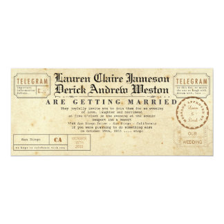 Vintage Telegramm-Tee-Längen-Einladung 10,2 X 23,5 Cm Einladungskarte