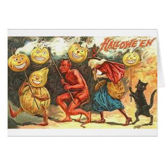 Vintage Teufel-und Hexe-Halloween-Parade-Karte Grußkarte