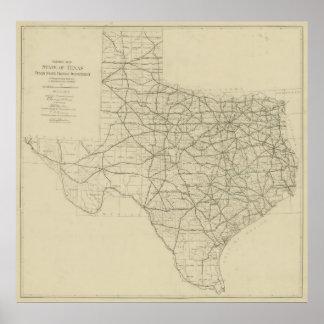 Vintage Texas-Landstraße Map (1919) Poster