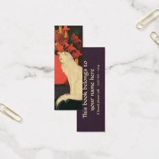 Vintage Tiere, elegante weiße Katze, Herbst-Blumen Mini Visitenkarte