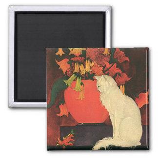 Vintage Tiere, elegante weiße Katze, Herbst-Blumen Quadratischer Magnet