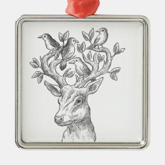 Vintage Tierrotwild mit Vögeln Quadratisches Silberfarbenes Ornament