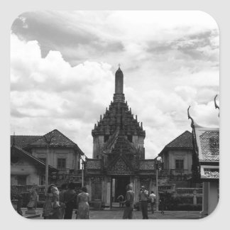 Vintage Touristen Thailands Bangkok Wat Phra Kaew Quadratischer Aufkleber