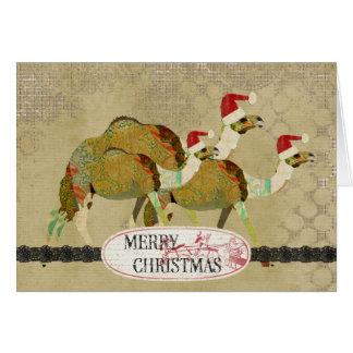 Vintage träumerische Kamel-Weihnachtskarte Karte