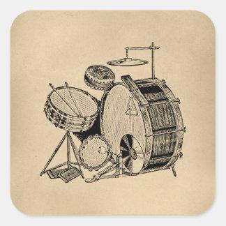 Vintage Trommel-Ausrüstungs-Trommeln Quadrataufkleber