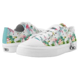 Vintage tropische Blumen und Vögel Niedrig-geschnittene Sneaker