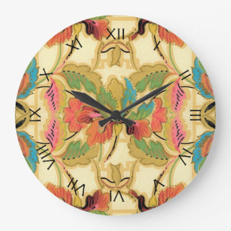 Vintage tropische Blumentapeten-Muster-Zahlen Große Wanduhr