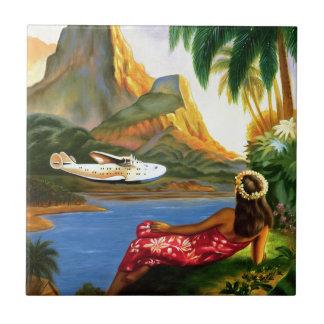 Vintage tropische hawaiische SeeFlugzeug-Palme Kleine Quadratische Fliese