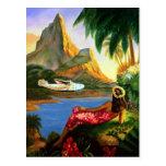 Vintage tropische hawaiische SeeFlugzeug-Palme Postkarten
