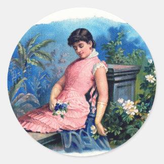 Vintage tropische Schönheit Runder Aufkleber