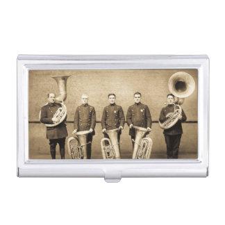 Vintage Tuba-Polizisten überwachen Visitenkarten-Dose