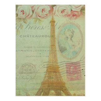 Vintage Turm-Rosen-Franzosen Paris Eiffel Postkarten