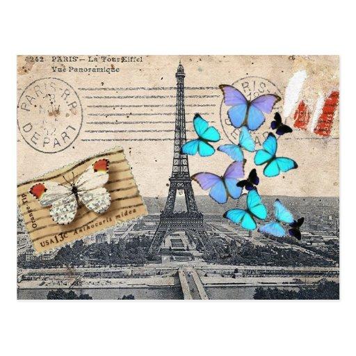 Vintage Turm-Schmetterlingsmode Paris Effiel Postkarte