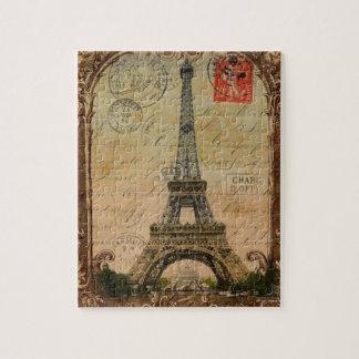 Vintage Turm-Wirbelsmustermode Paris Eiffel Puzzle