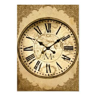 Vintage Uhr auf Papier-erstem Hochzeits-Jahrestag 12,7 X 17,8 Cm Einladungskarte