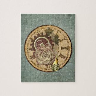 Vintage Uhr-Collage Puzzle