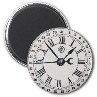Vintage Uhr-Gesichts-Mond-Phase Runder Magnet 5,7 Cm
