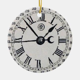 Vintage Uhr-Gesichts-Mond-Phase Rundes Keramik Ornament