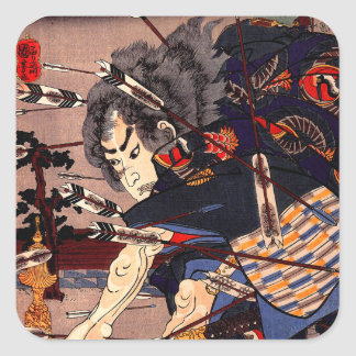 Vintage Ukiyo-e japanische Samurai-Malerei Stickers