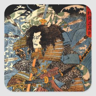 Vintage Ukiyo-e japanische Samurai-Malerei Quadrat-Aufkleber