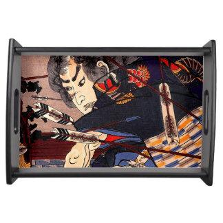 Vintage Ukiyo-e japanische Samurai-Malerei Serviertablett