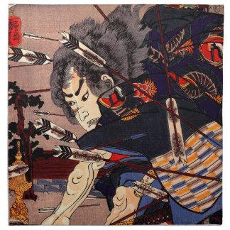 Vintage Ukiyo-e japanische Samurai-Malerei Servietten