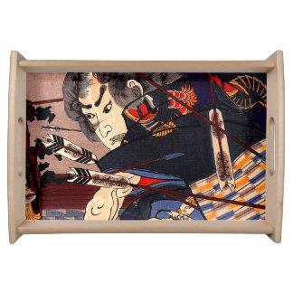 Vintage Ukiyo-e japanische Samurai-Malerei Tabletts