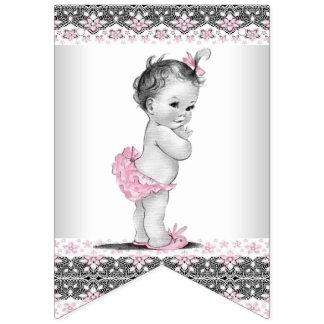 Vintage und rosa graue Mädchen-Baby-Dusche Wimpelketten
