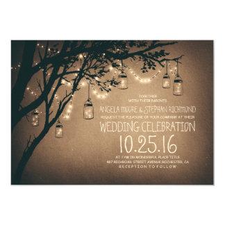 Vintage und rustikale Maurer-Glas-Schnur 12,7 X 17,8 Cm Einladungskarte