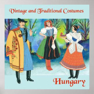 Vintage und traditionelle Kostüme Ungarn Poster