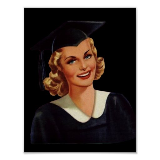 Vintage Uni Co-Ed Abschluss-Frau Plakat