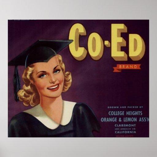 Vintage Uni Co-Ed Abschluss-Frau Poster