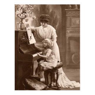 Vintage unterrichtende Kinderklavier-Musik-Postkar Postkarten