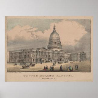 Vintage US-Hauptstadts-Gebäude-Illustration (1872) Poster
