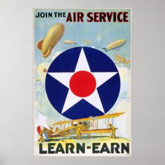 Vintage US schließen sich dem Fluglinienverkehr Poster