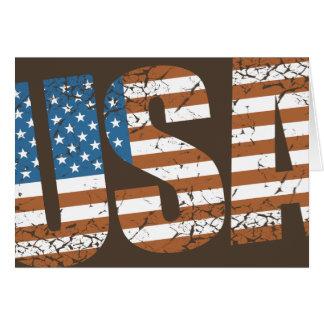 Vintage USA-Buchstaben mit der amerikanischen Grußkarte
