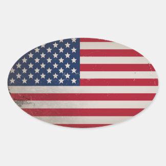 Vintage USA-Flagge Ovaler Aufkleber