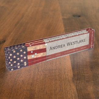 Vintage USA-Flagge Namensplakette