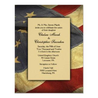Vintage USA-Flaggen-Hochzeits-Einladung Karte