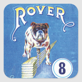 Vintage Vagabund-Bulldoggenaufkleber Quadratischer Aufkleber