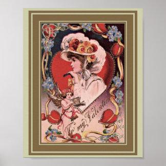 Vintage Valentine-Dame Poster