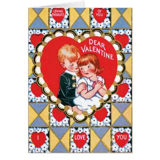 Vintage Valentine-Dreiecke und Herzen Karte