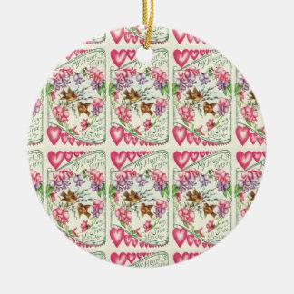 Vintage Valentine-Herz-Verzierung Keramik Ornament
