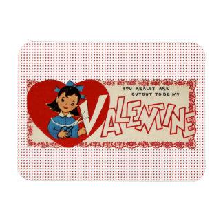 Vintage Valentine-Mädchen-Polka-Punkte u. Scheren Magnet