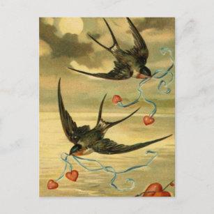 Vintage Valentine-Scheunen-Schwalben mit Herzen Weihnachtspostkarte