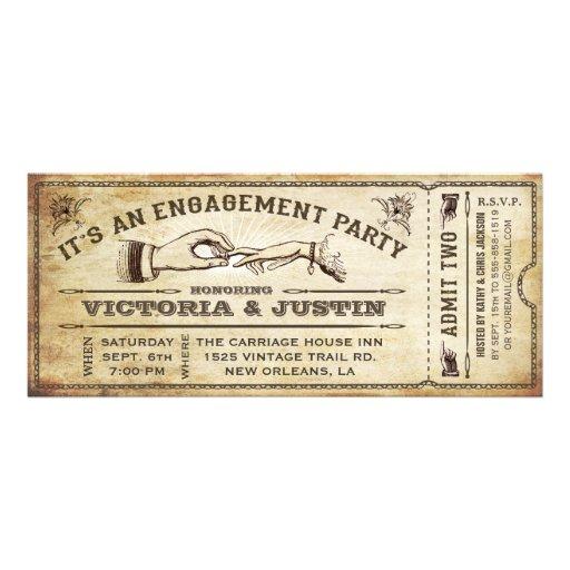 Vintage Verlobungs-Party-Karten-Einladung III
